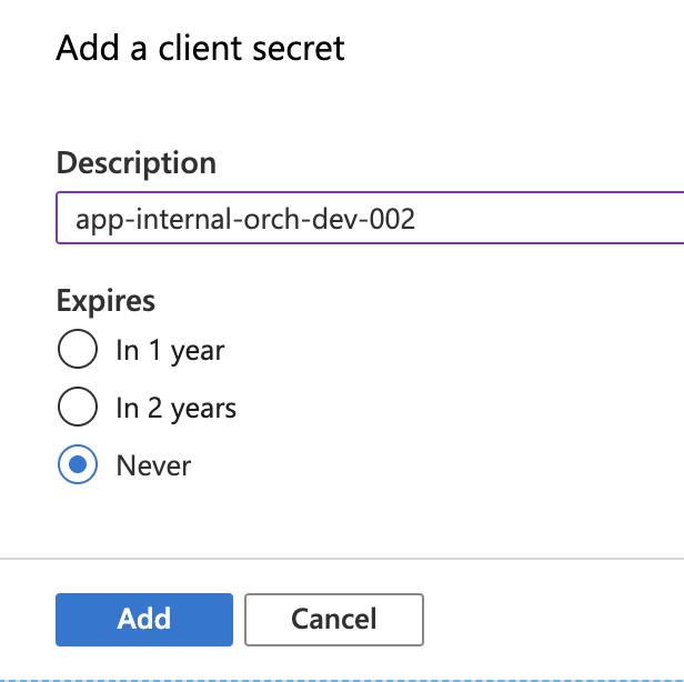 Creating a new Secret for our App Registration