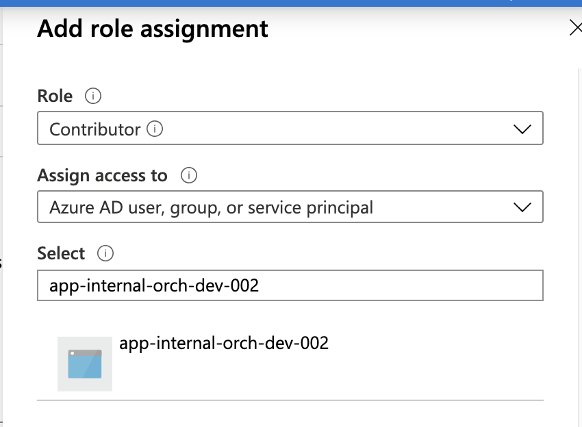 Role Assignment for allowing App Service Access