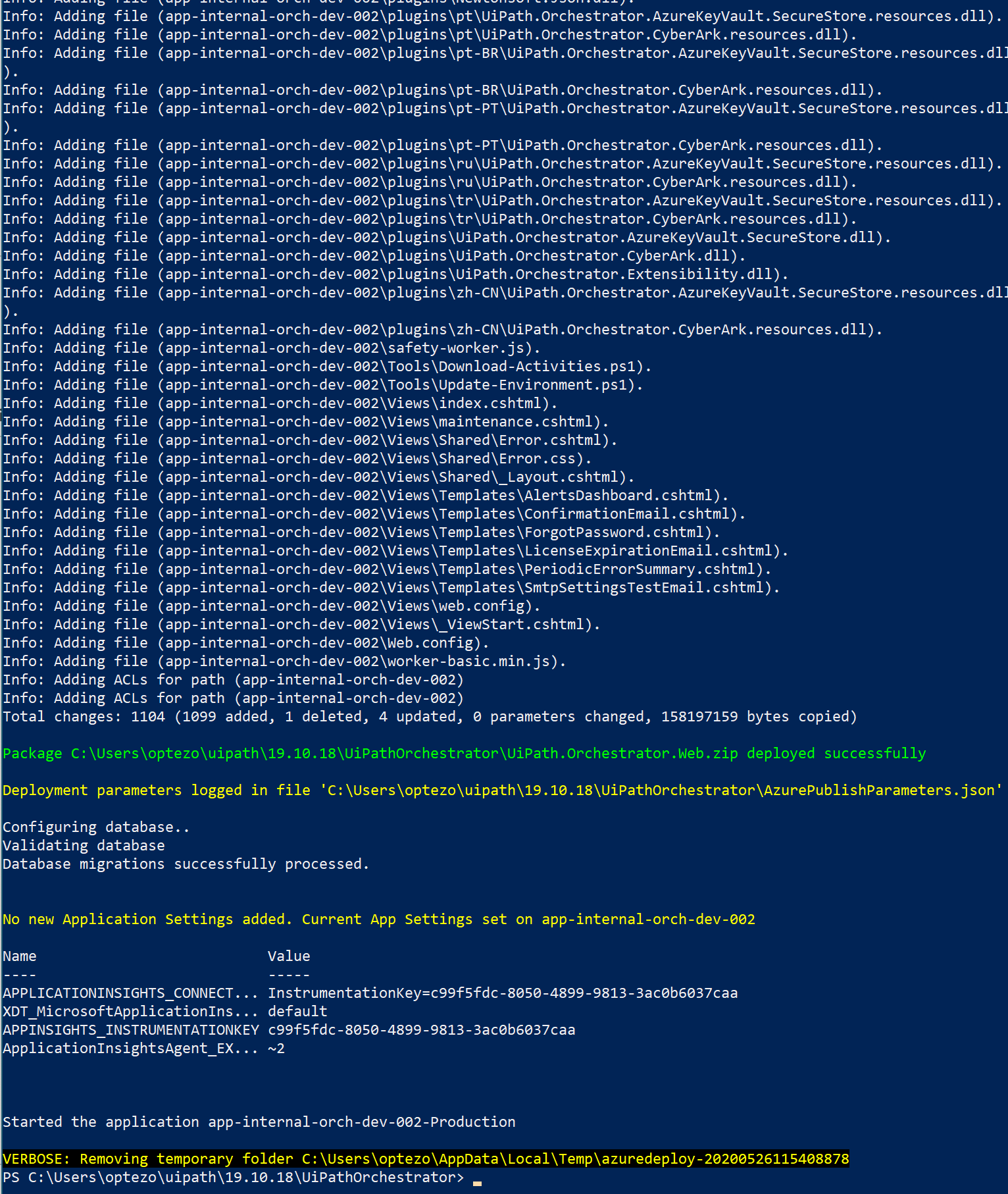 UIPath Publish-Orchestrator.ps1 Sample Output